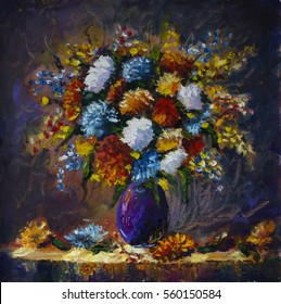 Original Oil Painting Of Bouquet Wild Flowers In A Vase On Canvas Modern Impressionism