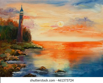 original oil painting, burning sunset over the sea with very old lighthouse