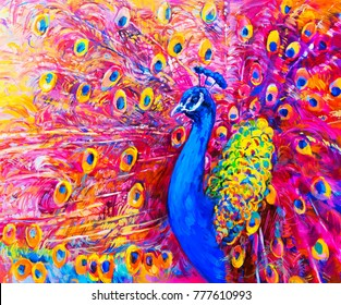 Original oil painting of colorful peacock. Modern art.