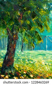 Original oil painting, contemporary style, made on stretched canvas - Beautiful large green trees on background of fence - summer landscape