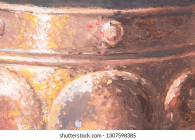 Original oil painting of a copper metal pan on canvas background - part of a bigger still life painting