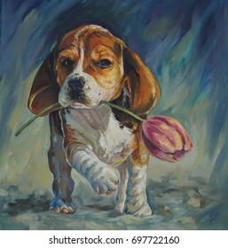 Original oil painting – Dog with tulip