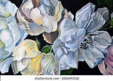 Original oil painting. Drawn flowers close-up. Beautiful, delicate, light flowers. Painting in the interior.