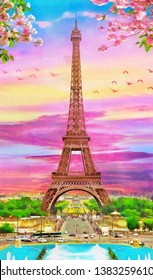 original oil painting of Eiffel tower in Paris, spring season. Decoration for the interior. Modern abstract art on canvas. collection of painting in designer set. four seasons