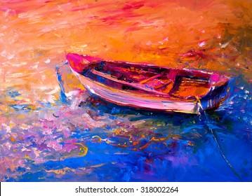 Original oil painting- fishing boat - Modern impressionism by Nikolov