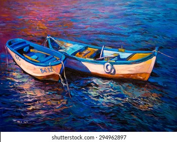 Original oil painting- fishing boats - Modern impressionism by Nikolov