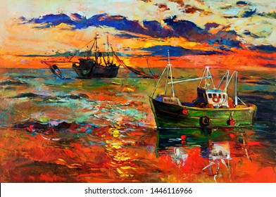 Original oil painting of fishing ships and sea on canvas.Sunset over ocean.Modern Impressionism