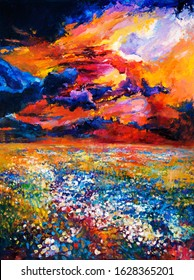 Original oil painting of flower  fields in front of beautiful sunset  on canvas.Modern Impressionism