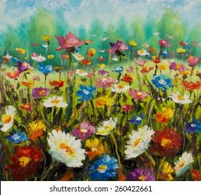 Original oil painting of flowers, beautiful blooming field on canvas. Wildflowers. Modern Impressionism. Impasto artwork.