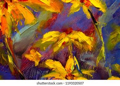 Original oil painting of flowers,beautiful field wild flowers of camomile on canvas. Modern Impressionism.Impasto artwork.