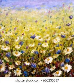 Original oil painting of flowers,beautiful field flowers on canvas. Modern Impressionism.Impasto artwork.