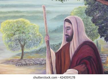 original oil painting of Jesus as the good shepherd, original hand painted by me, close up