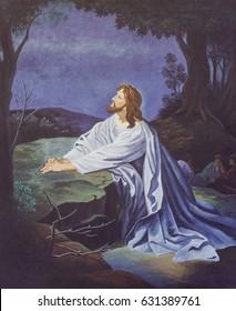 original oil painting of Jesus Prays in the garden Gethsemane