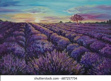 Original oil painting - lavender field at dawn