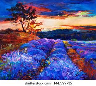 Original Ölmalerei auf Lavafeldern.Sonnenuntergang.Moderner Impressionismus