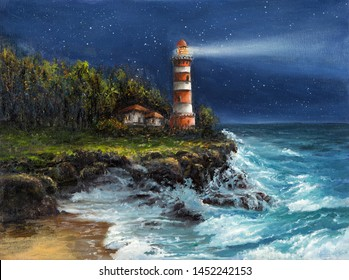 Original oil painting of  lighthouse and cliffs at night on canvas.Sky full of stars over ocean.Modern Impressionism