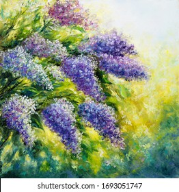 Original  oil painting of lilac tree in the garden.Modern Impressionism, modernism,marinism