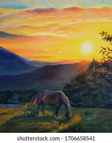 Original oil painting. Mountain landscape at sunset background. Horses drawn in the foreground. Beautiful summer evening. Picturesque sunset.