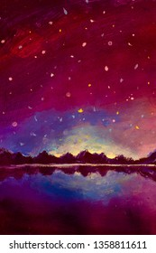Original oil painting night landscape mountain and milkyway galaxy warm cold background, long exposure, low light illustration artwork