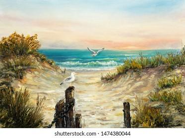 Originelle Ölmalerei auf Ozeanstranddünen mit Seegras auf Leinwand.Moderner Impressionismus, Modernismus, Marinismus