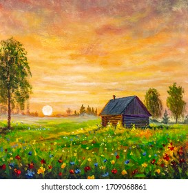 Original oil painting old rural farmhouse village house in flowers field on sunset on canvas. Impasto artwork. Impressionism art. Russian landscape background