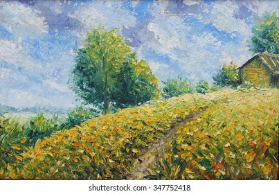 Original oil painting old rural farmhouse in the field on canvas. Impasto artwork. Impressionism art.
