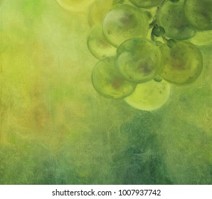 Original oil painting on canvas. Green grape on abstract green background. Close up painted illustration.