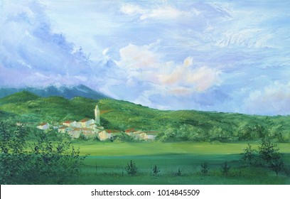 Original oil painting on canvas View of of alpine village with roman church in Slovenia Vipava valley The Ulian Alps Close up painted illustration with sunny summer landscape for print or design