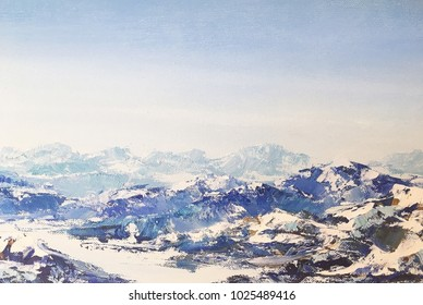 Original oil painting on canvas View of of snowy Alp mountains. Dolomites, Italy. Close up painted illustration with winter Alps for print or design