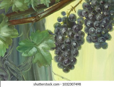 Original oil painting on canvas for print Delicious view of ripe blue grape with green background Close up painted illustration for home, bar restaurant, hotel, shop gift or special interior