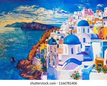 Original oil painting on canvas. Beautiful view from Santorini. Modern art.