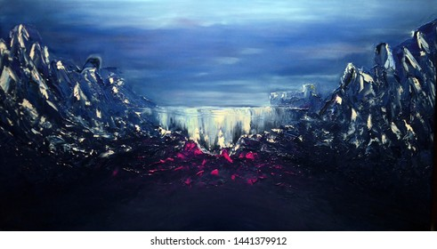 """Original oil painting on canvas cloudy mystical landscape with waterfall """"Repository of magic"""""""