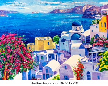 Original oil painting on canvas. Greek scenery, blue sea and white houses.