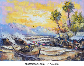 Original oil painting on canvas - Old fishing boat in the harbor in Thailand