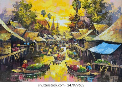 Original oil painting on canvas - waterside life in Thailand