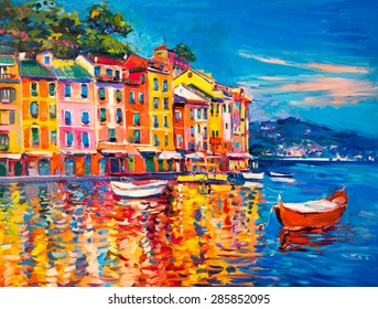 Original Oil Painting on Canvas. Boats and sea at the harbor. Modern impressionism by Nikolov