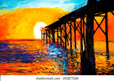 Original Oil Painting on Canvas- Sunset over the bridge- Modern impressionism by Nikolov