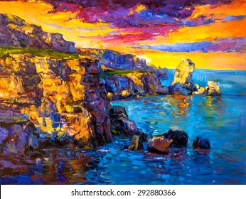 Original Oil Painting on Canvas Sea rocks and sunset- Modern impressionism-by Nikolov