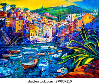 Original Oil Painting on Canvas. Boats and old town. Modern impressionism by Ivailo Nikolov