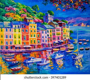 Original Oil Painting on Canvas. Boats and sea at the harbor.