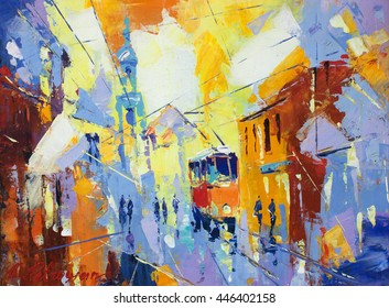 an original oil painting on canvas cubism style, part of cubism landscapes collection, just an ordinary day in the city, urban, city life,