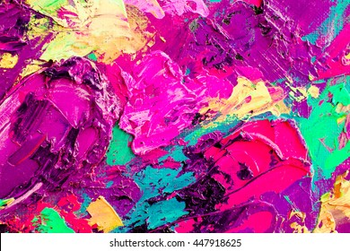 Original  oil painting on canvas. Abstract art  background. . Fragment of artwork. Brushstrokes of paint. Modern art. Contemporary art. Colorful  texture. thick paint surface