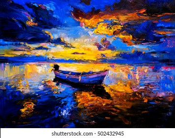 Original oil painting on canvas. Sky sunset and boat on the water. Modern impressionism