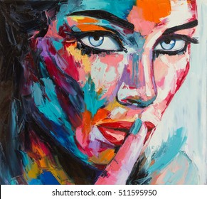"Original oil painting on canvas from ""colorful emotions"" series, a fantasy woman portrait"