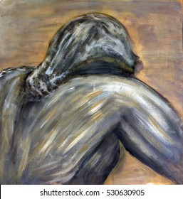 Original Oil Painting on canvas of a man with hunched shoulders depicting sorrow
