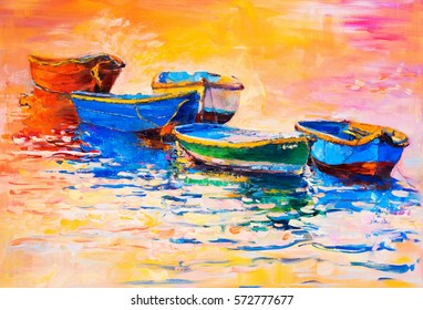 Original oil painting on canvas. Boats and sunset. Modern impressionism