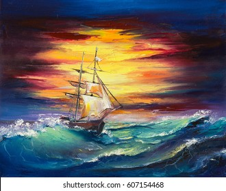 An original oil painting on canvas, a fantasy white sail ship fighting it's way through the storm.