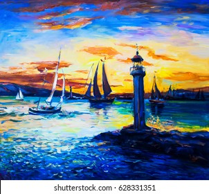 Original Oil Painting on canvas. Old Lighthouse.  Fine art.Modern Impressionism.