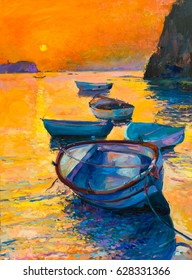 Original Oil Painting on canvas. Boats in the ocean, sunset. Fine art. Modern Impressionism.