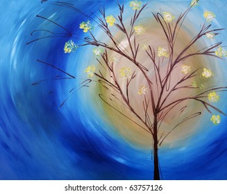 Original oil painting on canvas of a fall tree against blue swirling sky